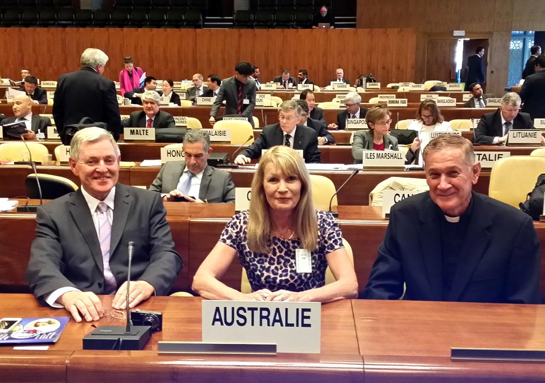 Club representatives Colin Brown, Ann Robinson and Dennis Claughton, International Labour Organisation, Geneva, 2014