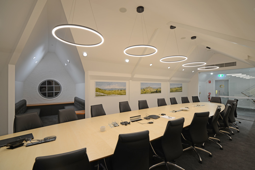 The boardroom, featuring porthole window and Jane Eliza Currie prints Photo: Yerbury Press
