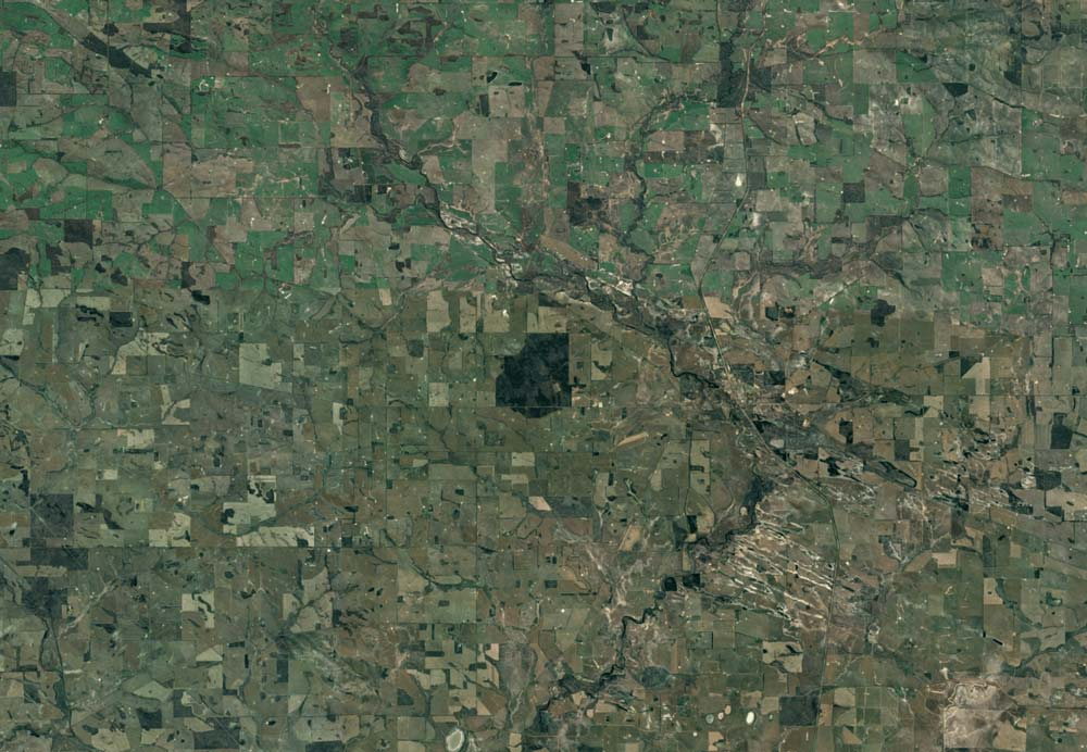 Only 7% of the central wheatbelt's natural vegetation is left. Google Earth.