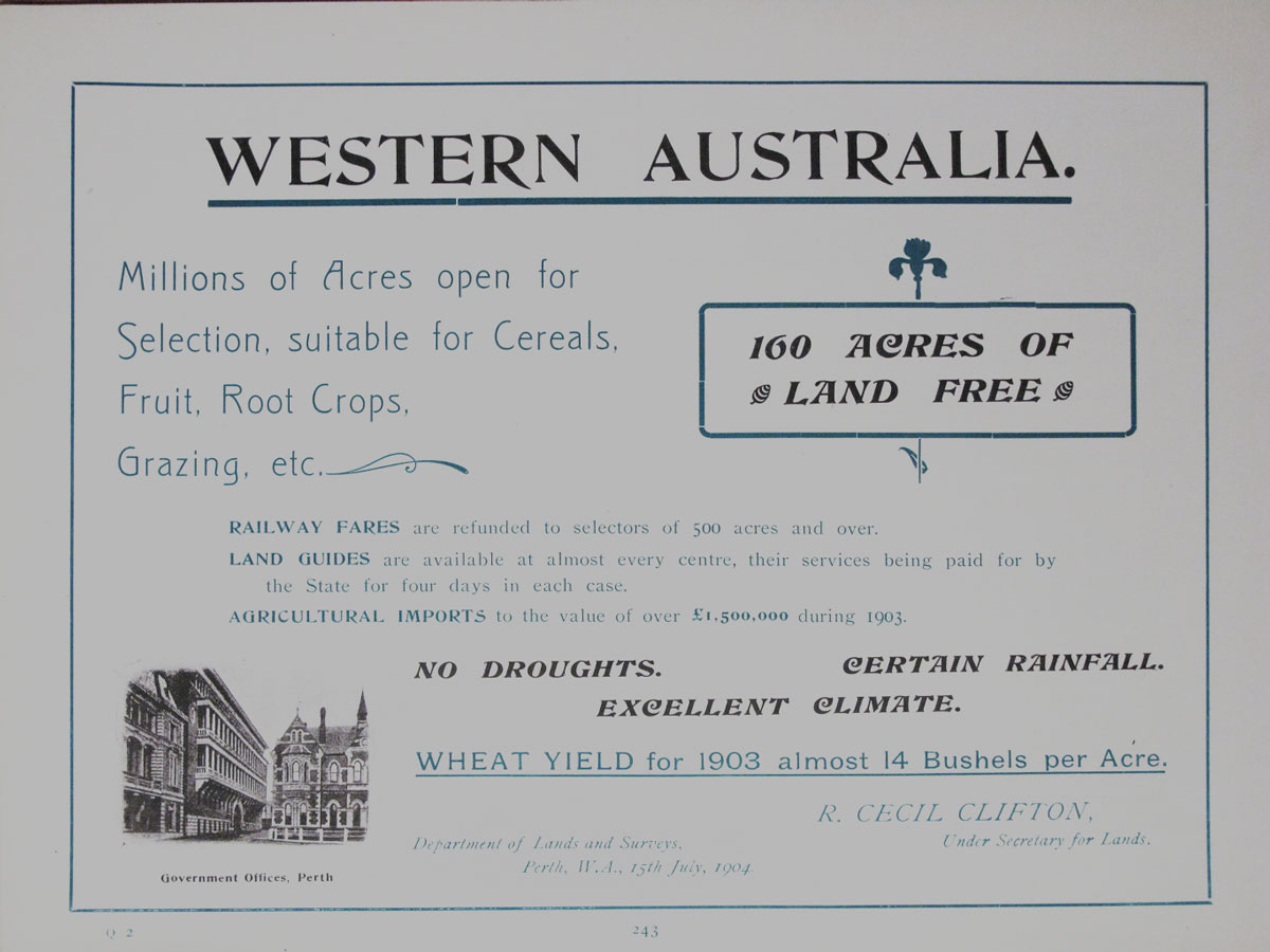 WA Government land advertisement from 1904.