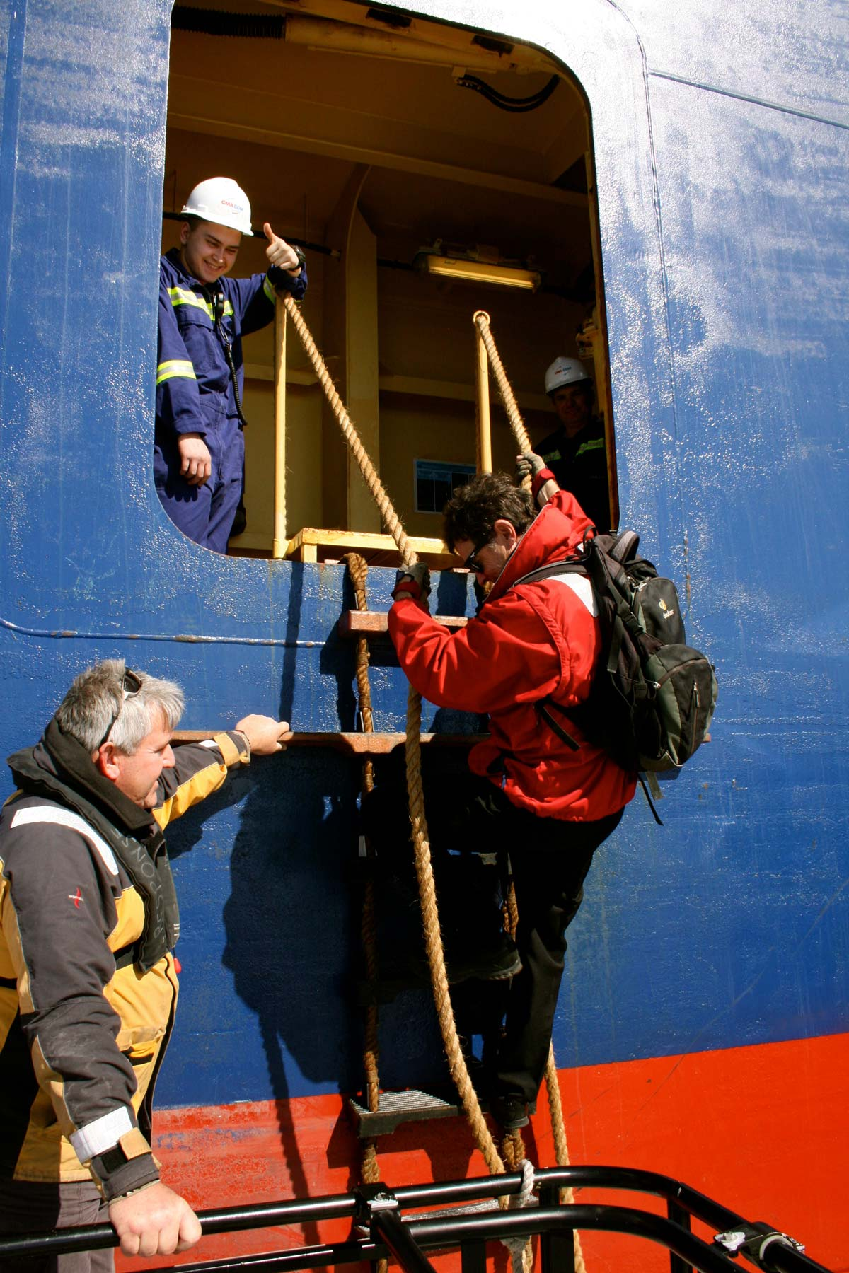 Greg climbing aboard the 'White Shark'.