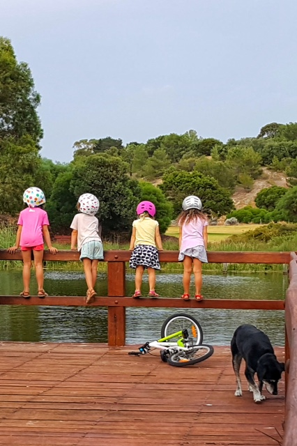 Girls enjoying a moment on the boo park jetty