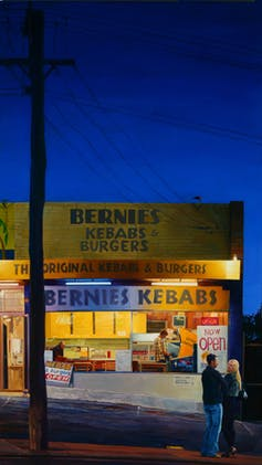Marcus Beilby, Big Night Out , 2011, Oil on canvas, 96 X 166cm framed. Fremantle Arts Centre