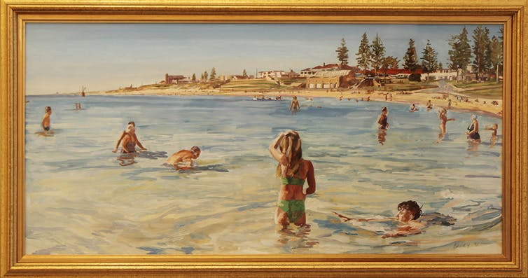 Marcus Beilby, Study for Cottesloe Beach , Oil on paper, 71 X 70cm framed. Fremantle Arts Centre