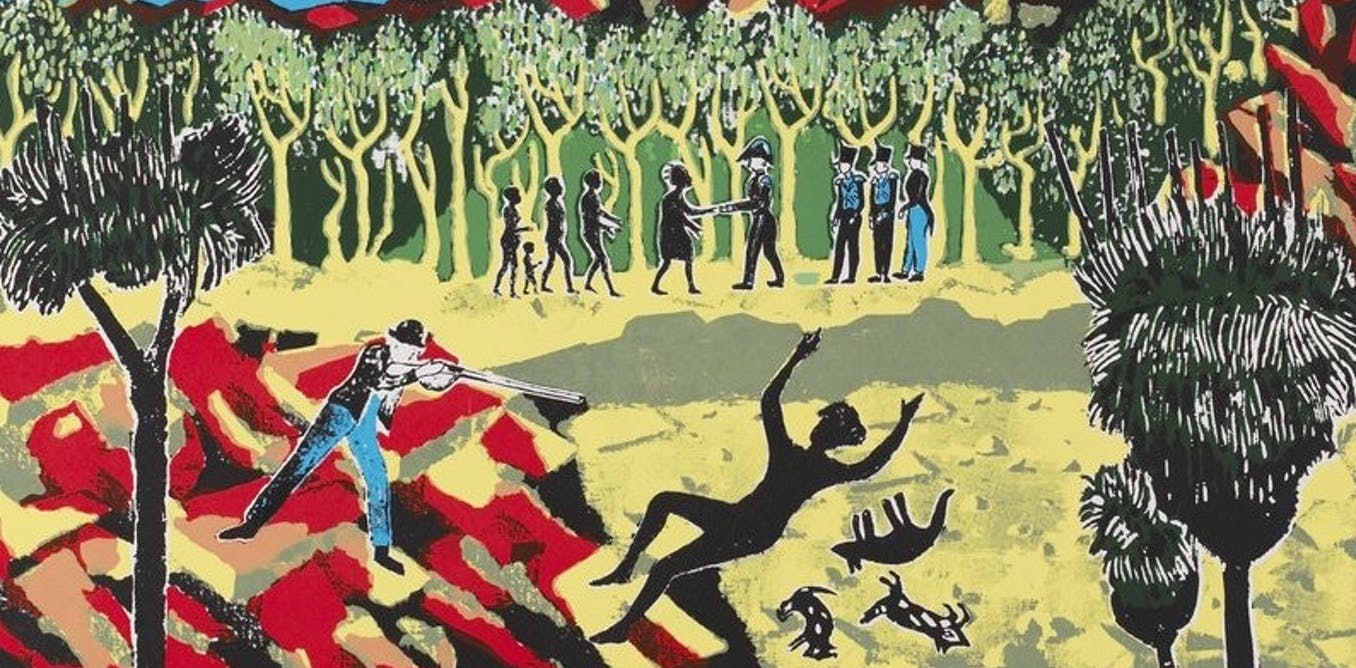 Detail from Julie Shiels' 1954 poster White on black: The annihilation of Aboriginal people and their culture cannot be separated from the destruction of nature. State Library of Victoria