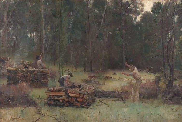 Tom Roberts Wood Splitters, 1886. Wikimedia Commons