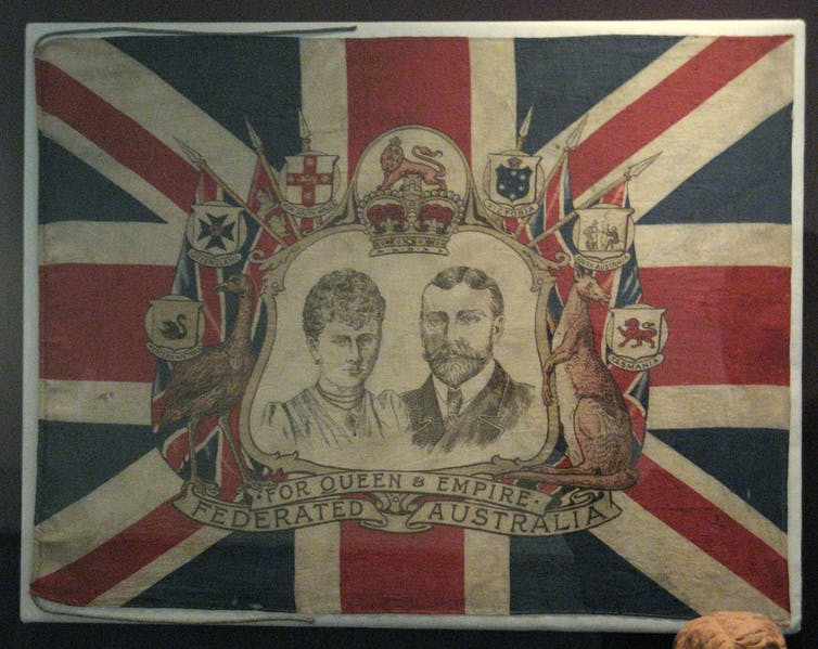 A decorative flag used in Sydney, 1901, as part of Australian Federation celebrations. Australian nationhood and national identity were formed around Federation. Wikimedia Commons