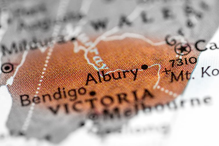 Map showing Albury and Bendigo in Victoria