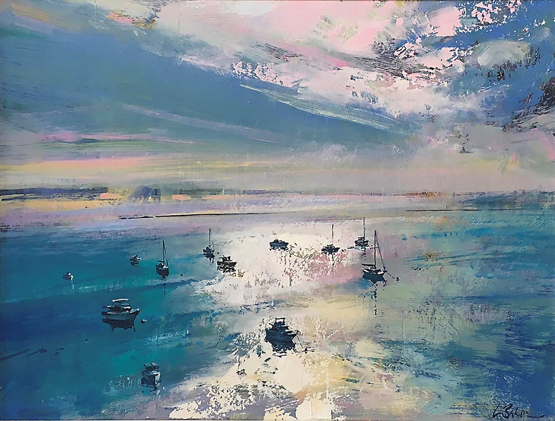 Above our Diamond Water II oil on canvas 47x61cm Greg Baker